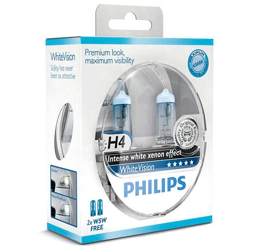 лампа  H-4 12V 60/55W PHILIPS WHITE VISION 4300K (к-т 2шт)